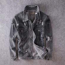 Куртка мужская рваная из денима хлопок уличная одежда стиль