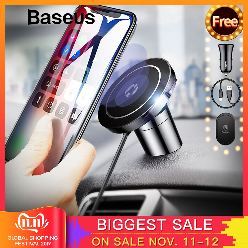 Baseus Qi Car Wireless Charger Magnetic Phone Holder For IPhone SamsungS10 Wireless Charging Car Mount Mobile Phone Holder Stand