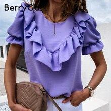 BerryGo Casual crew neck ruffle women blouse shirt