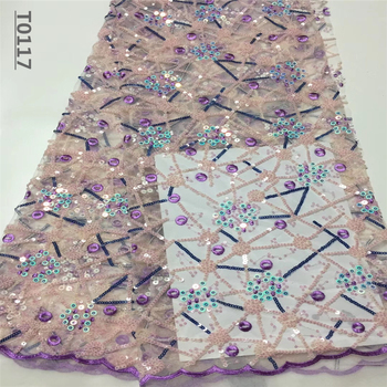 African Lace Fabric Embroidered Nigerian Sequins Lace Fabrics High Quality French Tulle Lace Fabric For Women Wedding
