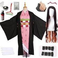 Disfraz de Cosplay Demon Slayer, Kimetsu no Yaiba, Kamado, Nezuko, Kimono japonés