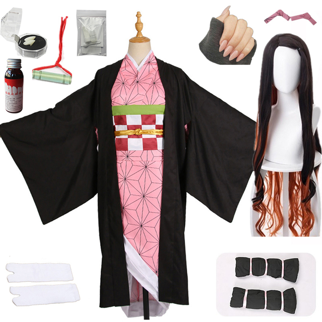Hot New Anime Demon Slayer: Kimetsu no Yaiba Cosplay Kamado Nezuko Woman Japanese Kimono Cosplay Costume