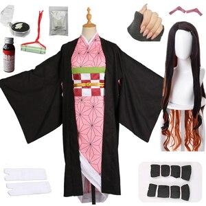 Image 1 - Hot Nieuwe Anime Demon Slayer: Kimetsu Geen Yaiba Cosplay Kamado Nezuko Vrouw Japanse Kimono Cosplay Kostuum