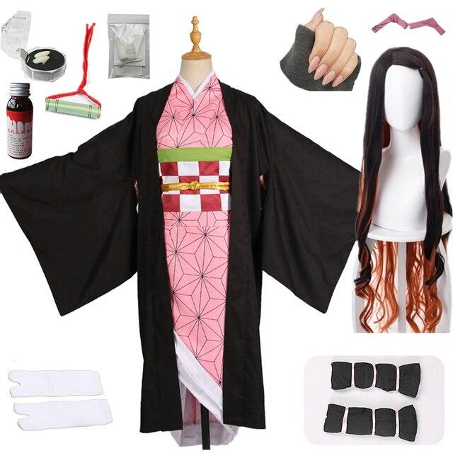 Hot Nieuwe Anime Demon Slayer: Kimetsu Geen Yaiba Cosplay Kamado Nezuko Vrouw Japanse Kimono Cosplay Kostuum