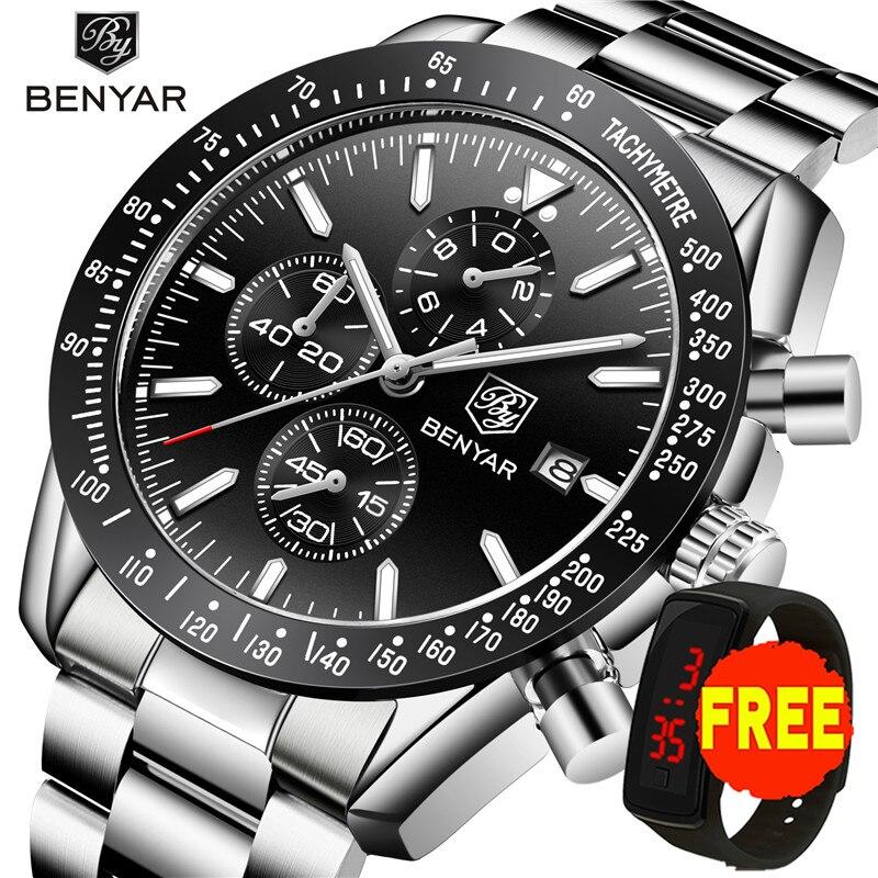 BENYAR 2019 Mens Watches Top Luxury Brand Business Steel Quartz Watch Casual Waterproof Male Wristwatch Relogio Masculino