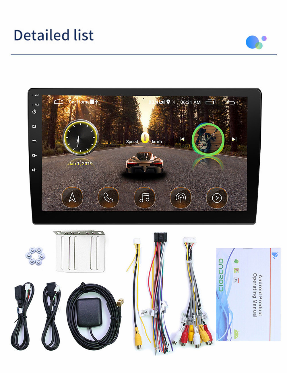 2din Car radio 9 10.1inch Android system Auto stereo 2.5D Capacitive Screen Bluetooth WIFI GPS Quad Core For Universal Car  (4)