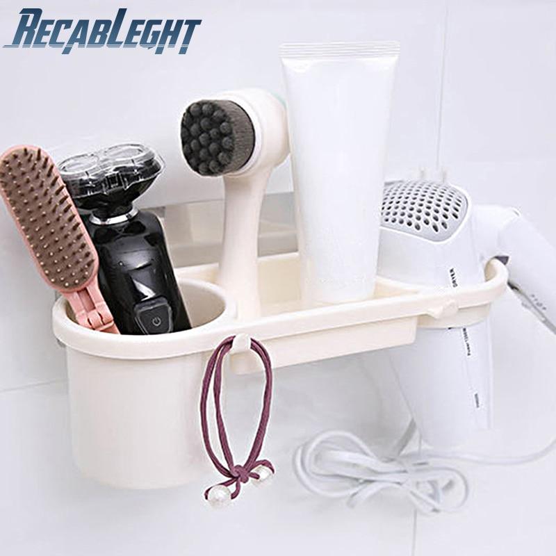 Recableght Bathroom Hair Dryer Holder Wall Stand Sturdy Adhesive Washroom Storage Rack Conveniently Install Bathroom Accessories