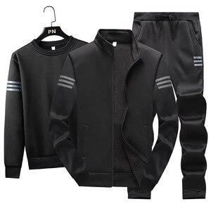 Image 4 - 3Pcsชุดแฟชั่นผู้ชายฤดูใบไม้ร่วงชุดกีฬาSportwear Casual Sweatshirt + ขนแกะเสื้อ + กางเกงกีฬาชุดสูทplusขนาด