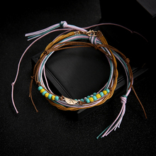 4pcs/set Colorful Rope Anklet Bracelet Bead Watermelon Surfer Beach Foot Cadena Tobillera Bracelet For Leg  bohemian
