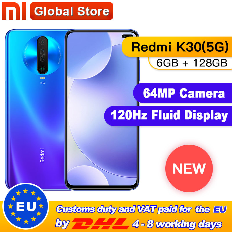 "Original Xiaomi Redmi K30 5G 6GB 128GB Snapdragon 765G Octa Core Smartphone 6.67"" 64MP Quad Rear Camera 4500mAh"