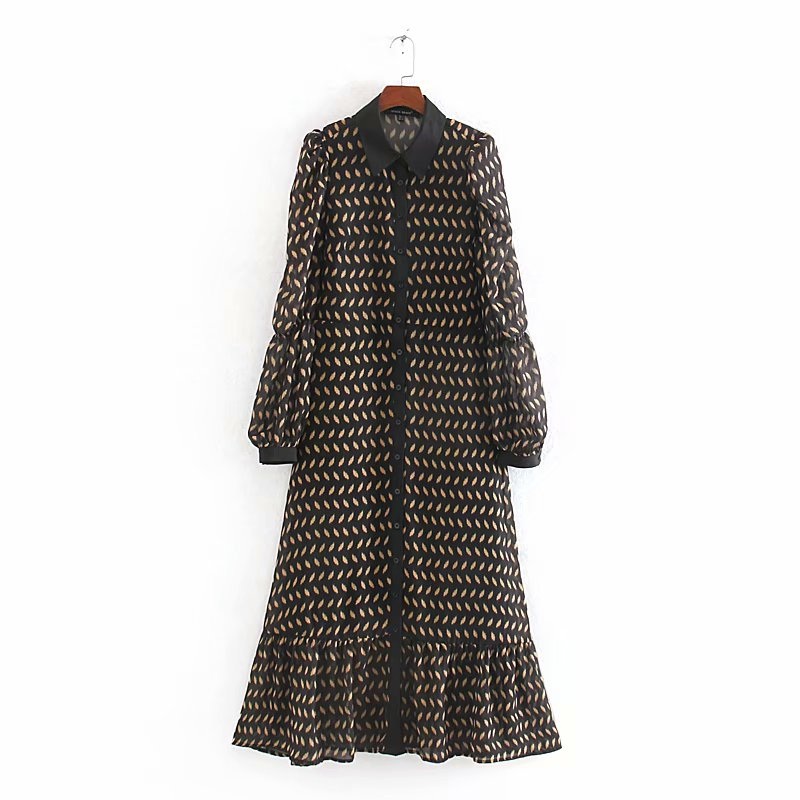 2020 New Women Vintage Geometric Print Chiffon Shirtwaist Hem Ruffles Midi Dress Female Chic Puff Sleeve Leisure Dresses DS3126