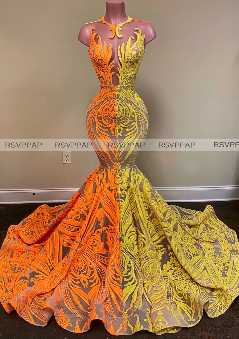 Long Elegant Prom Dresses 2020 Sheer O-neck Orange And Yellow Sequin African Women Black Girls Mermaid Prom Party Gowns