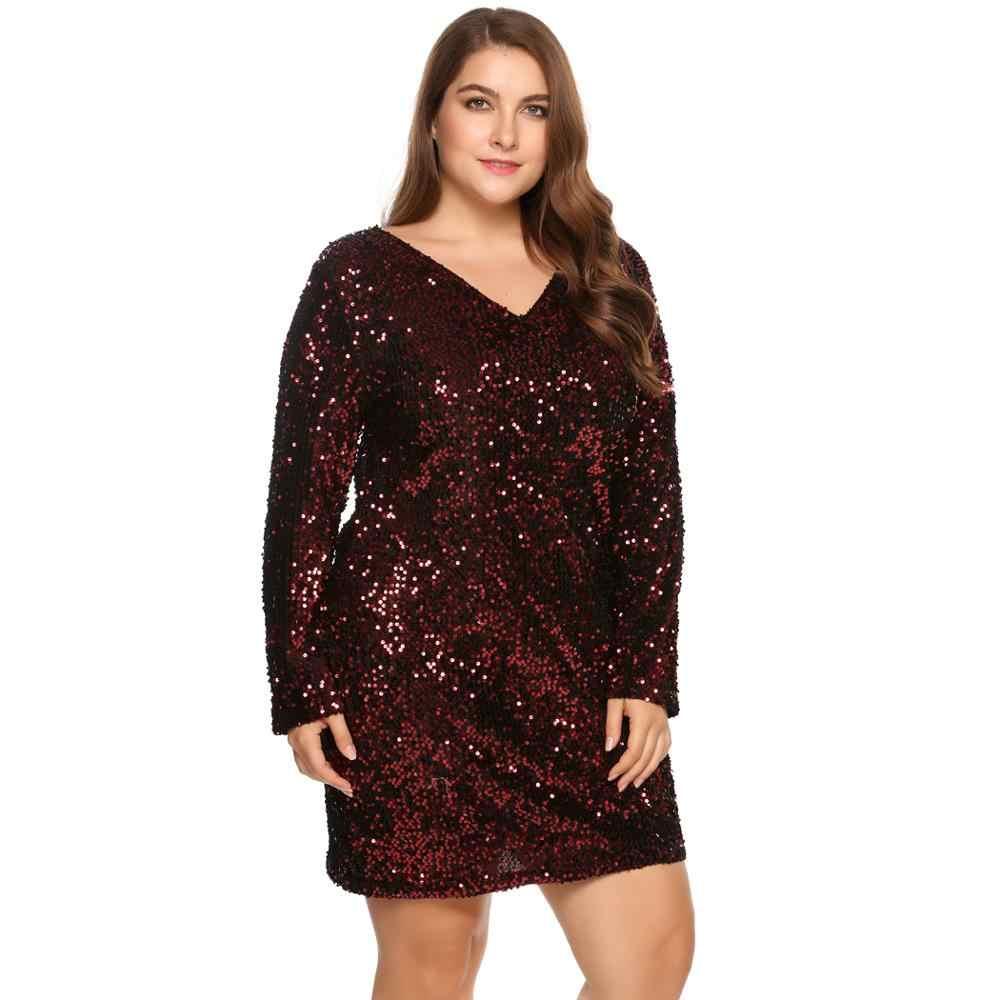 IN'VOLAND Plus rozmiar XS-5XL kobiety Party sukienka z cekinami Bodycon koktajlowa, klubowa płaszcza z długim rękawem sukienki damskie Feminino Vestidos