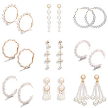 VAGZEB Oversize Pearl Drop Earrings For Women Girls Unique Twisted Big Circle Earring Brinco Statement Fashion Jewelry