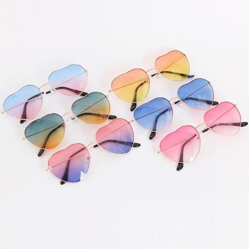 Fashion Heart Shaped Sunglasses Women Metal Clear Red Lens Glasses Fashion Heart Sun Glasses