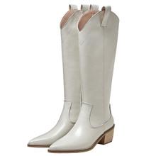 2020 nowe oryginalne skórzane kwadratowe kowbojki z dalekiego zachodu dla kobiet Oots niskie obcasy kolana wysokie buty damskie Mujer Chunky Heel Zapatos Hot tanie tanio Mobetty CN (pochodzenie) Prawdziwej skóry Skóra bydlęca Połowy łydki Rzym Stałe Boots Plac heel Buty śniegu Mikrofibra