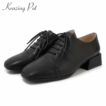 Krazing pot classic solid brand genuine leather shoes square toe med heels lace up women daily wear basic casual style pumps L70