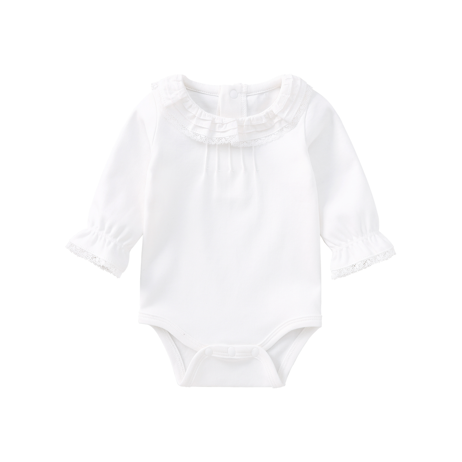 Pureborn Newborn Baby Girl Bodysuit Ruffle Lace Long Sleeve Basic Onesies Solid White Color Spring Autumn Baby Girl Clothes