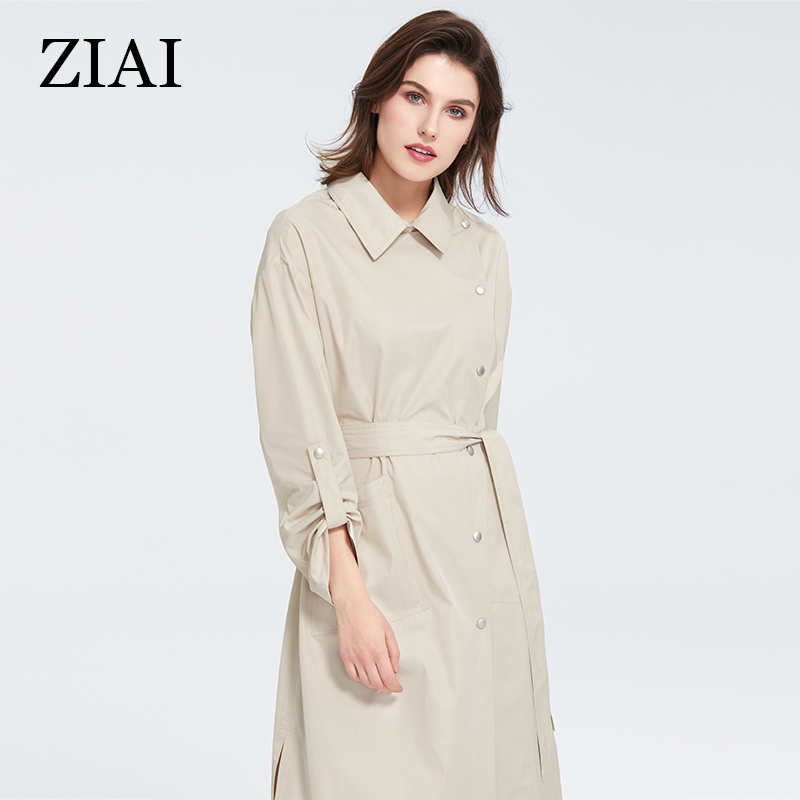 ZIAI 2020 Spring Jacket Women Long Light Beige Cool Trench Coats Fashion Female Coat Outwear Top Brand Quality In Stock ZS-7090