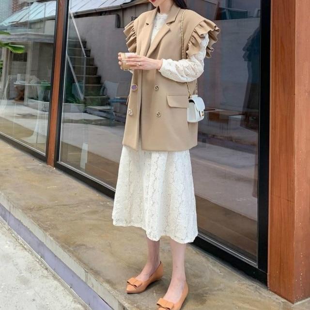 [EWQ] 2020 Summer New Ruffles Turn-down Collar Loose Khaki Vest Office Lady Elegant Simple Ladies Jacket Chic Top Women Coats 4