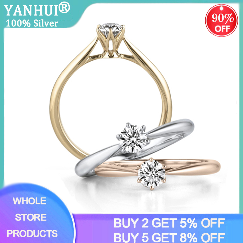 YANHUI Authentic 925 Sterling Silver Rings Round Zirconia Diamond Finger Rings For Women Wedding Original Silver Jewelry JZ040