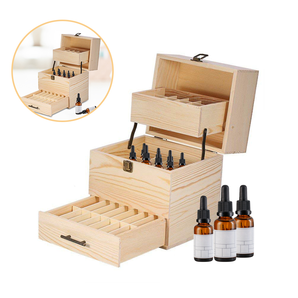 3 Layers 32 Slots Wooden Essential Oil Aromas Bottle Box Portable Wood Jewelry Storage Box Home Compartments Organizor Boxes