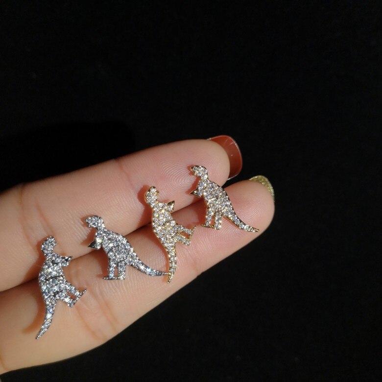 S925 Korean Silver Earrings Punk Dinosaur Animals Mixed Crystal Stud Earrings For Women Fashion Jewelry Wholesale Bijoux Earring