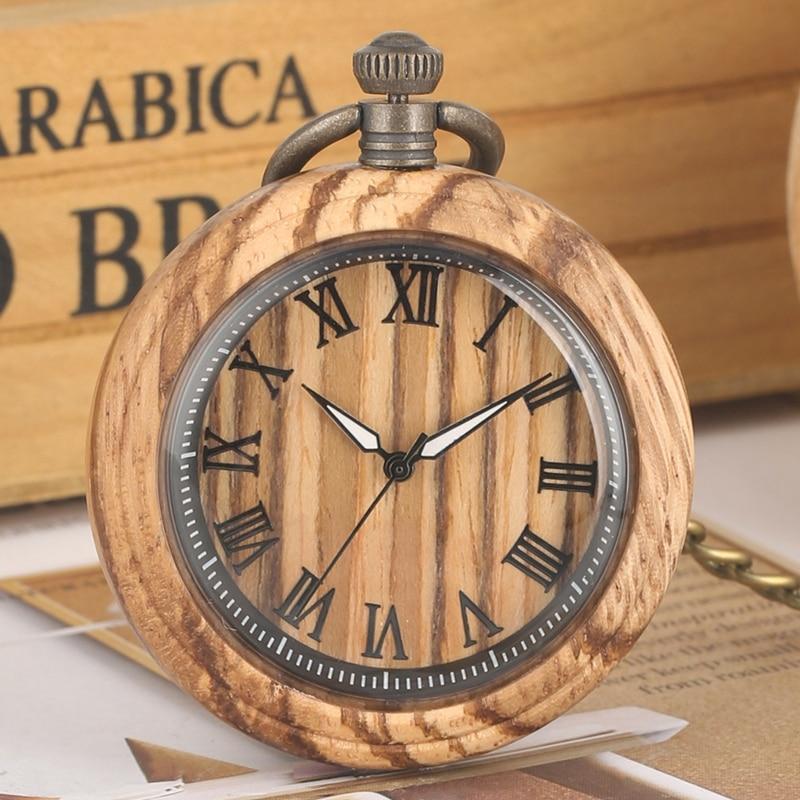 Zebra Wood Quartz Pocket Watch Roman Numbers Round Dial Luminous Needle Wooden Watch Chain Clock FOB Gifts Relojes De Bolsillo
