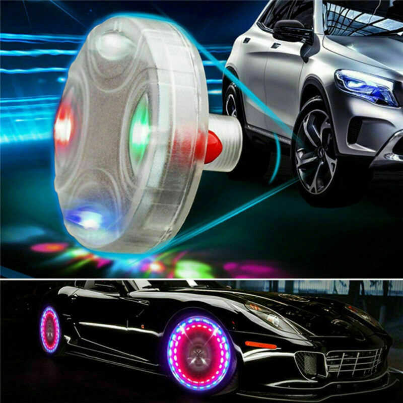 Auto Solar Wheel Lights Decorative LED Tire Lights Colorful Valve Lights Modified Hot Wheels Lights Motorcycle Car Accessories