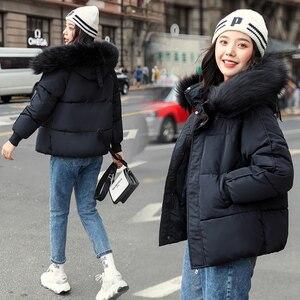 Image 5 - WXWT kışlık mont ceket parkas 2020 yeni kadın moda büyük kürk yaka kapşonlu kalın pamuk aşağı ceket rusça kış ceket