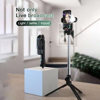 XT05 Bluetooth Selfie Stick trípode con llenar de luz extensible de aluminio remotas belleza Selfie palo para viajes de casa