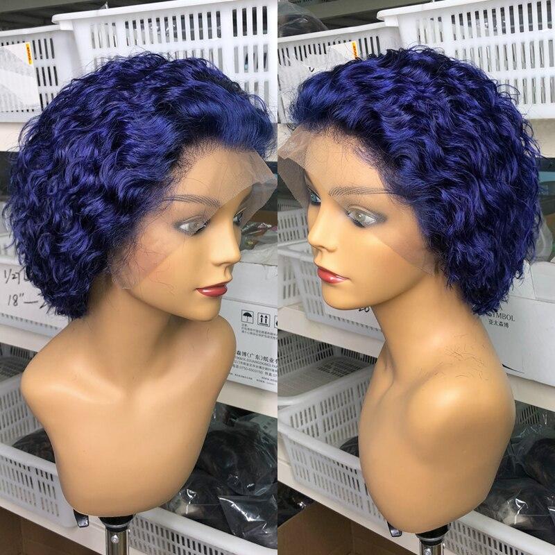 1b/27 Pixie Cut parrucca di pizzo riccio blu scuro prespennata taglio smussato parrucche di pizzo Bob parrucche corte di capelli umani T parrucca di Remy umana 180% Glueless
