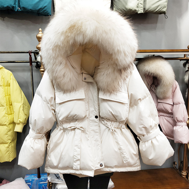 Women's New 2020 Down Jacket Hooded Women Coat Raccoon Fur Collar Korean Fashion Short Warm Women's Jackets 1935 KJ2550 S