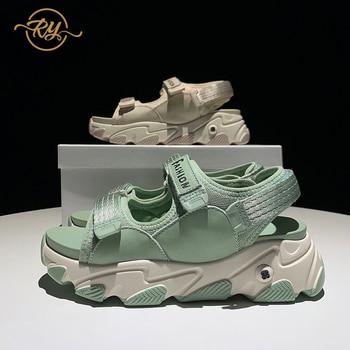 RY-RELAA women sandals summer 2020 hing heel Genuine Leather luxury shoes women designers ins platform sandals chunky heels new
