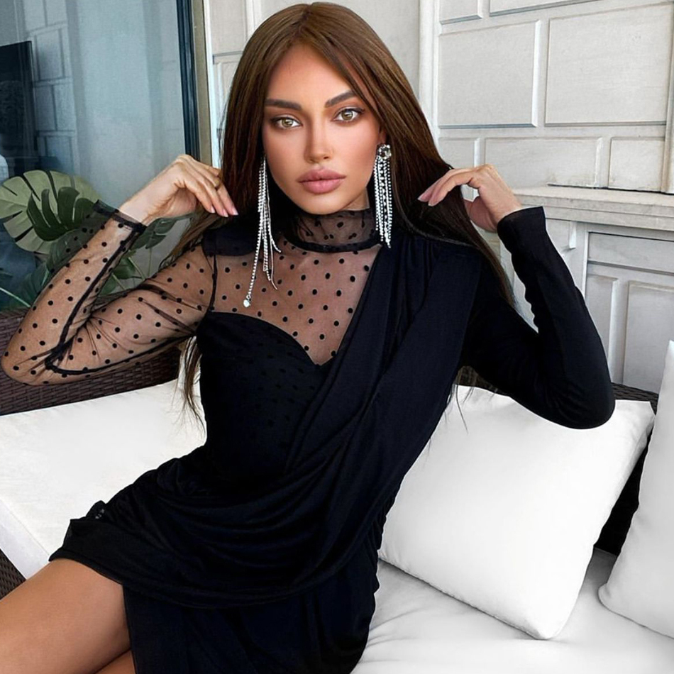 ADYCE Presale 2020 New Autumn Women Lace Long Sleeve Bandage Dress Sexy Black Draped Midi Celebrity Runway Party Dress Vestidos