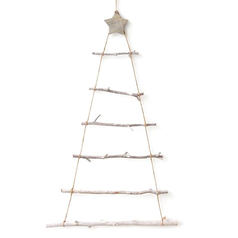DIY деревянная Рождественская елка в скандинавском стиле, искусственные детские подарки, украшения, настенные подвесные украшения для дома, ...