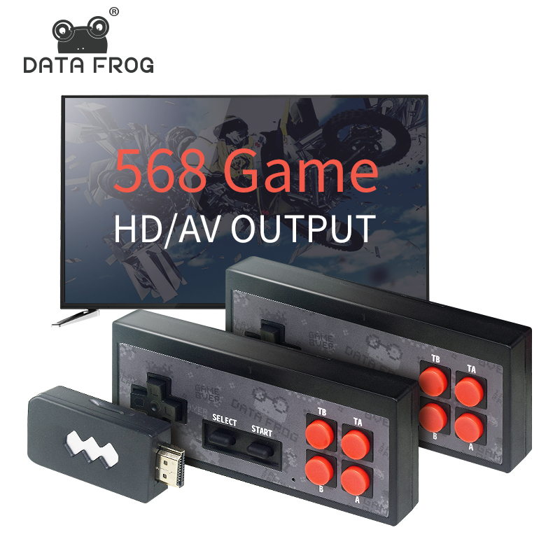 Data Frog USB Wireless Handheld TV Video Game Console Build In 620 Classic 8 Bit Game mini Console Dual Gamepad AV Output(China)