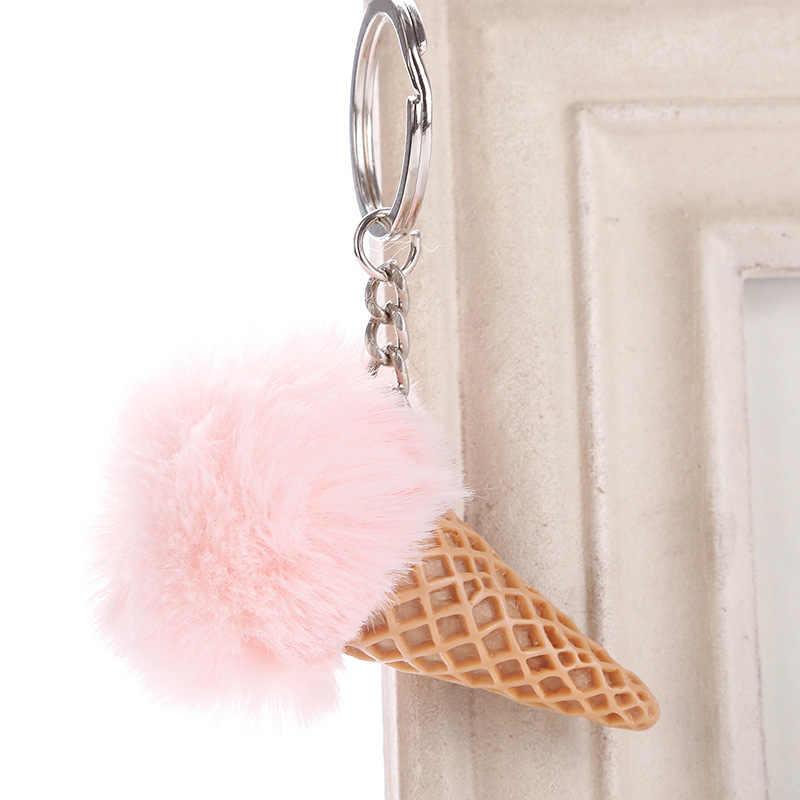 Novo bonito sorvete chaveiro 12*10cm de pele do falso pom pom pom pelúcia chaveiros para as mulheres saco do carro pingente chaveiro jóias crianças presente