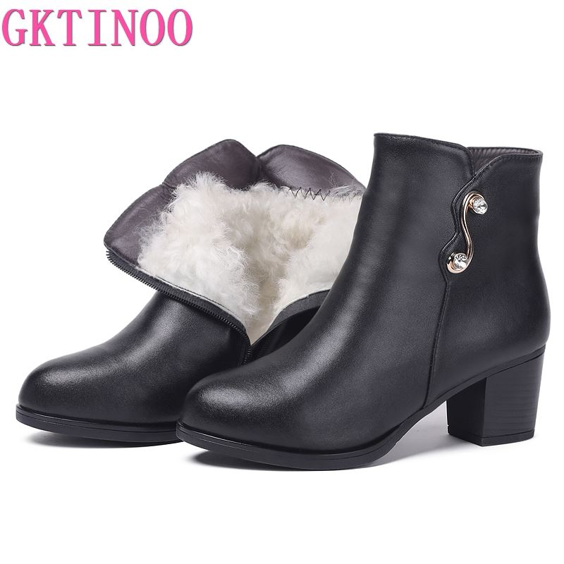GKTINOO Women Ankle Boots 2020 New Winter Women Genuine Leather Boots Rhinestone High Heel Large Size Shoes Women Boots Lady