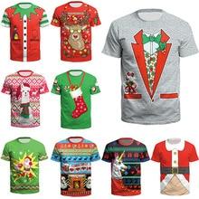 Рождественская Одежда для мальчиков; Новинка; футболка с короткими рукавами с изображением Санта-Клауса; Рождественский костюм для вечеринки