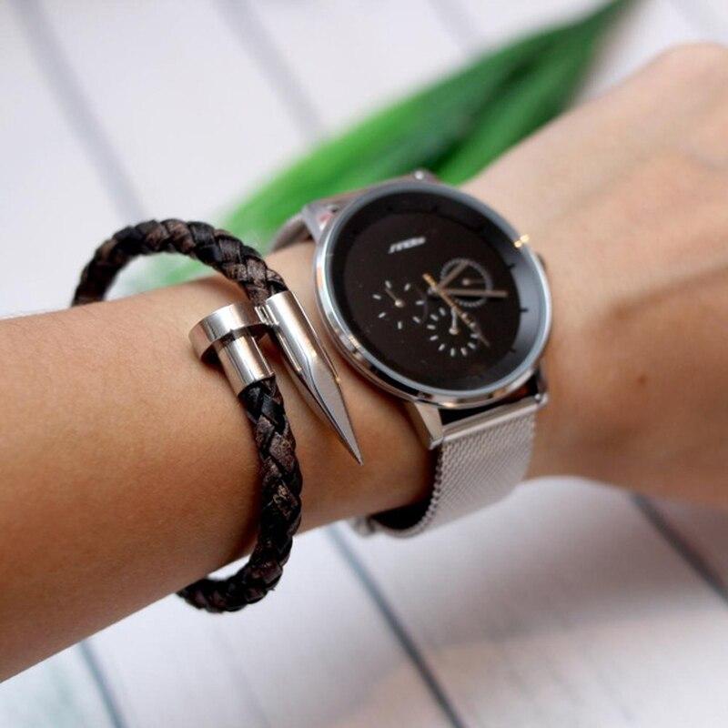 Mcllroy Bracelet hommes Vintage en cuir véritable acier inoxydable fermoir magnétique bracelets pour femme hommes bijoux 2018 erkek bileklik 4