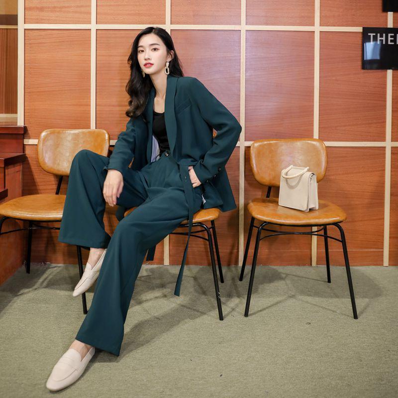 Casual vintage women's suit sets pants suit New autumn loose large size suit jacket female Fashion wide leg pants Two-piece set