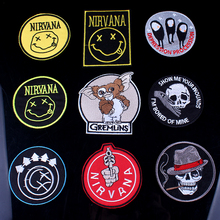 DIY Nirvana Band Patch Rock Embroidered Patches For Clothing Hippie Music Iron on Logo Badge Applique Stripes