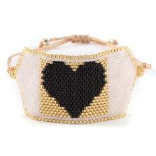 BLUESTAR Imported Japan Bead Bangles Chic Handmade Black color Heart Bracelets Boho Star Pulsera Mujer