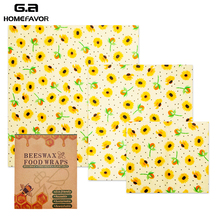 3 PCS Beeswax Food Wraps Sets Small Medium and Large Covers Reusable Eco-Friendly Washable Zero Waste