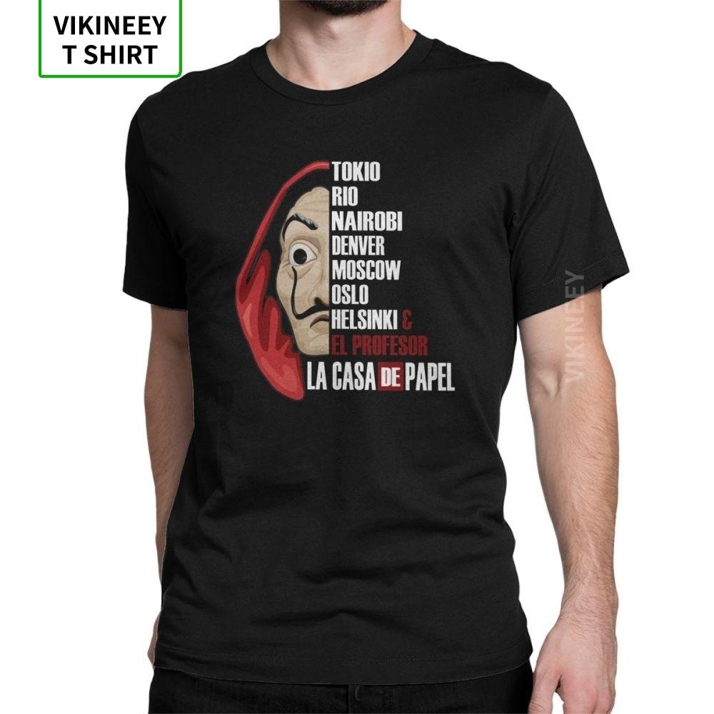 Hommes La Casa De Papel T-Shirt argent casse série TV Vintage col rond maison De papier hauts coton tissu t-shirts idée cadeau T-Shirt