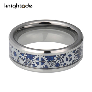 Image 2 - Men Women Wedding Band  Mechanical Gear Wheel Tungsten Steel Ring Beveled Edges With Blue Carbon Fiber Inlay Finger Jewelry