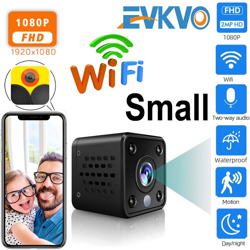 Güvenlik ve Koruma'ten Gözetim Kameraları'de EVKVO HD 1080P Mini WiFi IP kamera dahili pil CCTV kablosuz güvenlik HD gözetim mikro kamera gece görüş ev monitör title=