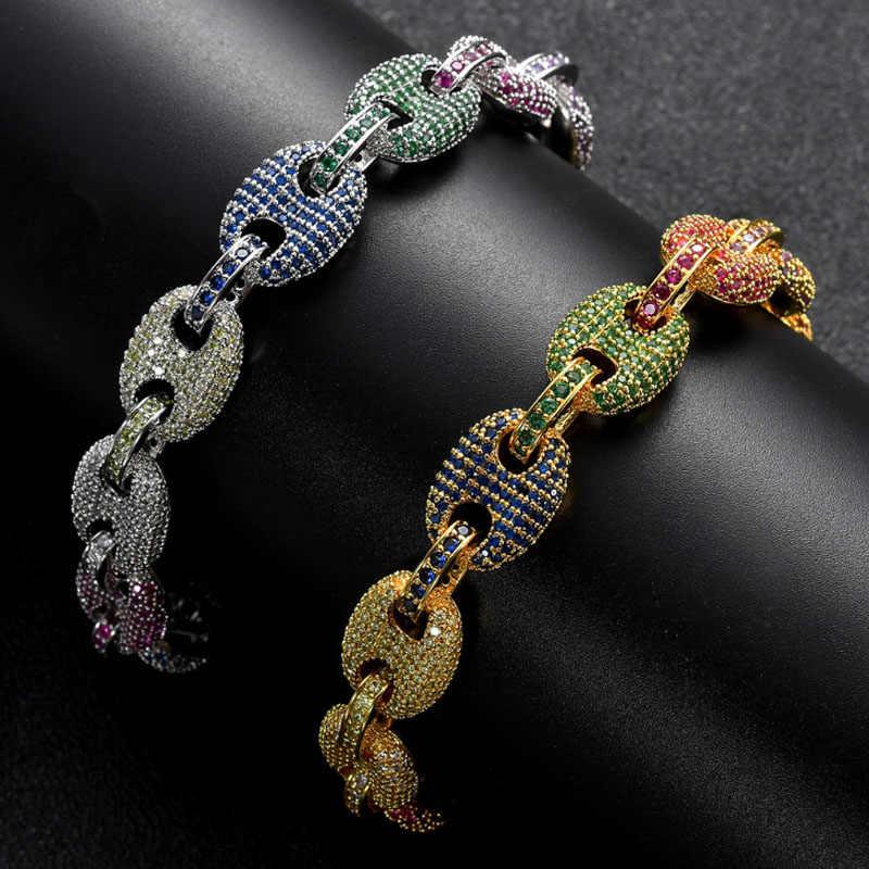 Amazon zlxgirl moda Colorido AAA pulseira de zircão Cúbico feminino marinha acessórios mulheres jóias bridal dubai pulseira de ouro