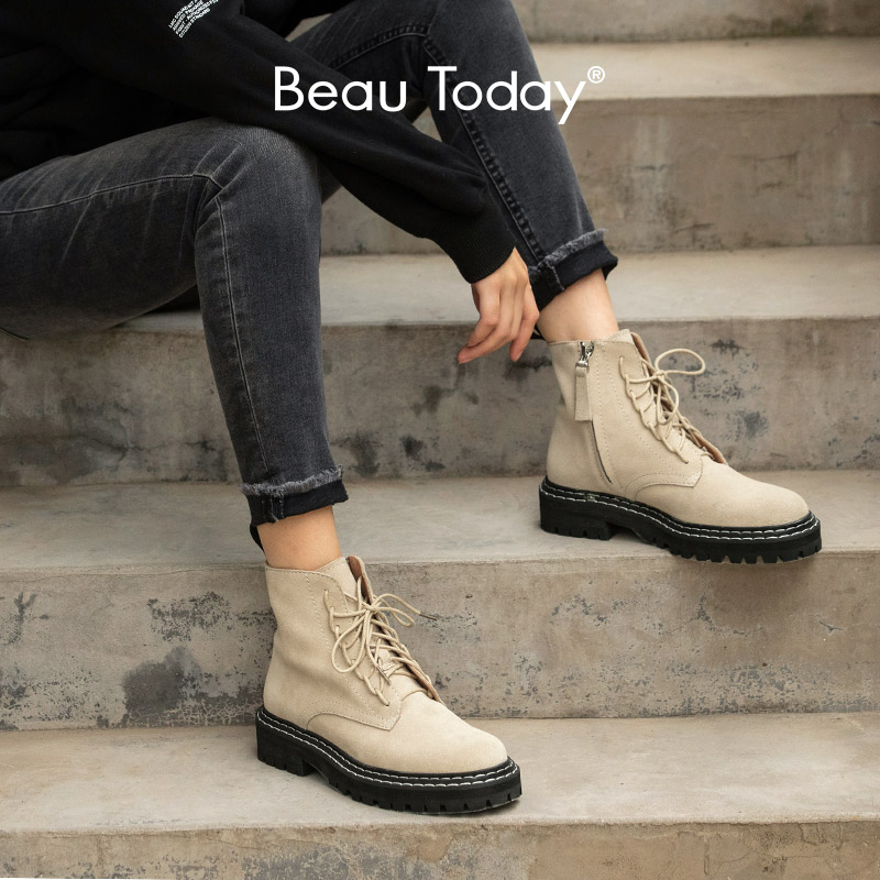 BeauToday/модные женские ботильоны из коровьей замши со шнуровкой и молнией на платформе; женские зимние ботинки из натуральной кожи ручной работы; 03443|Полусапожки|   | АлиЭкспресс - Женская обувь